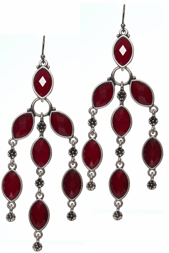 Lucky Brand Women's Dripping Stone Chandelier Earrings - Red (Closeout)