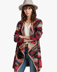 Lucky Brand Women's Long Sleeve Drape Front Aztec Print Sweater - Multi