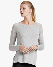 Lucky Brand Women's Long Sleeve Drapey Top - Heather Grey