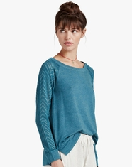 Lucky Brand Women's Long Sleeve Drapey Top-Ocean Heather