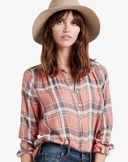 Lucky Brand Women's Long Sleeve Plaid Button Down Shirt - Coral