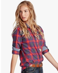 Lucky Brand Women's Long Sleeve Skylight Plaid Top - Orange (Closeout)