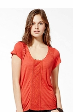 Lucky Brand Women's Nania Lace Inset Top - Chili (Closeout)