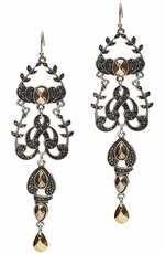 Lucky Brand Women's Pave and Stone Chandelier Earrings - Citrine (Closeout)