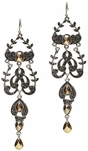 Lucky Brand Women's Pave and Stone Chandelier Earrings - Citrine