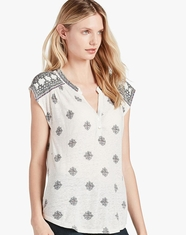 Lucky Brand Women's Short Sleeve Embroidered Print Henley Top - White (Closeout)