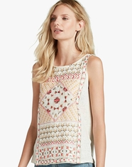 Lucky Brand Women's Short Sleeve Embroidered Top - Bone (Closeout)