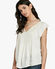 Lucky Brand Women's Short Sleeve Embroidered Top - Natural