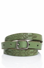 Lucky Brand Women's Skinny Floral Belt - Mint Green