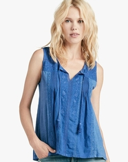 Lucky Brand Women's Sleeveless Embroidered Tank Top - Blue (Closeout)