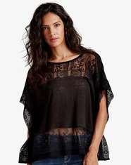 Lucky Brand Women's Sleeveless Embroidered Top - Black (Closeout)