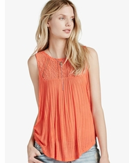 Lucky Brand Women's Sleeveless Embroidered Yoke Top - Red