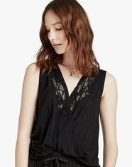 Lucky Brand Women's Sleeveless Lace Top - Black