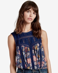 Lucky Brand Women's Sleeveless Print Top - Blue
