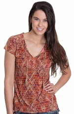 Lucky Brand Womens Angeli Aztec Top - Red