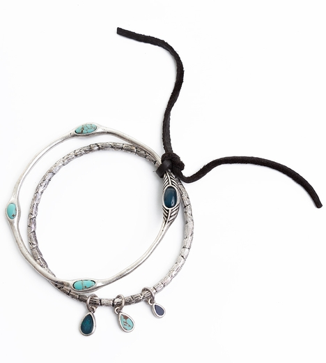 Lucky Brand Womens Stone Bangle Bracelet Set - Turquoise Stone (Closeout)