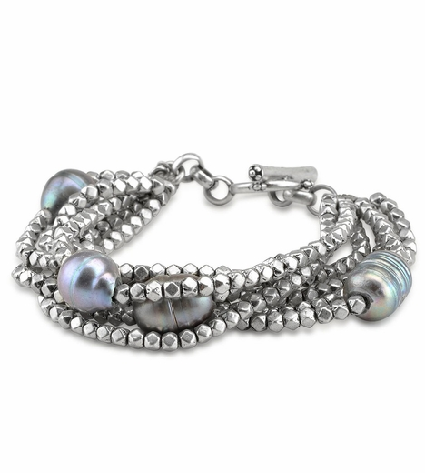 Lucky Brand Womens Pearl Layered Bracelet