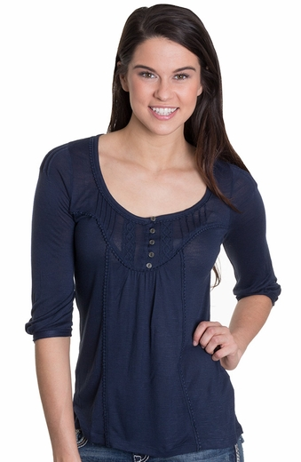 Lucky Brand Womens Celene Bib Top - Navy (Closeout)