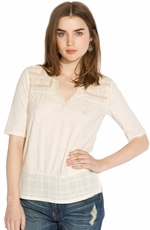 Lucky Brand Womens Coronado Mixed Yoke Top - Nigori