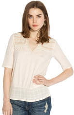 Lucky Brand Womens Coronado Mixed Yoke Top - Nigori (Closeout)