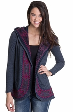 Lucky Brand Womens Embroidered Jacket - Navy Heather (Closeout)