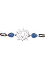 Lucky Brand Womens Lotus Leather Bracelet - Silver/Blue (Closeout)
