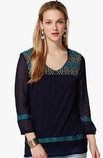Lucky Brand Womens Maybelle Embroidered Top - American Navy (Closeout)