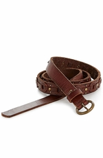 Lucky Brand Womens Skinny Belt with Round Links - Dark Brown