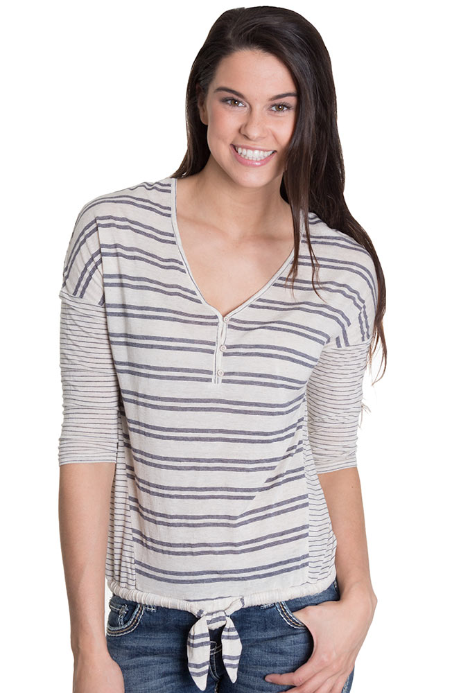 Lucky Brand Womens Striped Tie Front Top - Navy (Closeout)