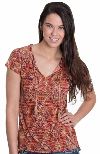 Lucky Brand Womens Angeli Aztec Top - Red (Closeout)