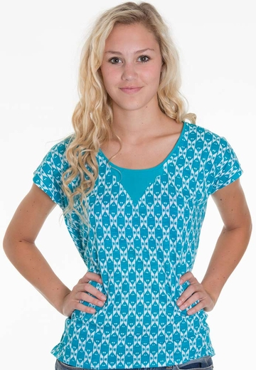 Lucky Brand Womens Carina Ikat Top - Teal
