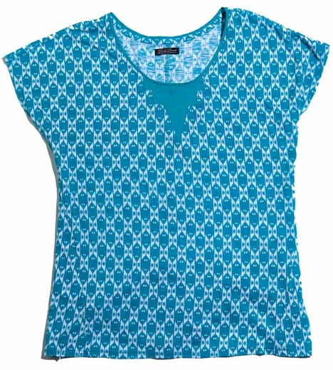 Lucky Brand Womens Plus Carina Ikat Top - Teal (Closeout)