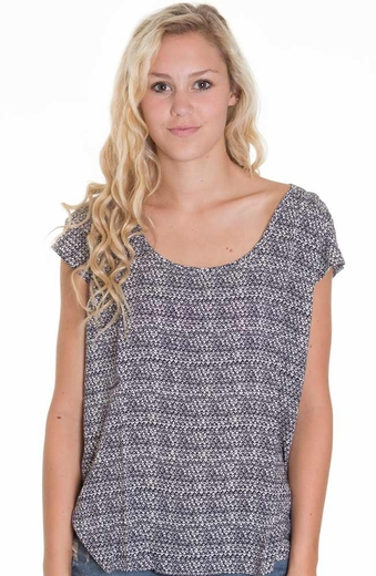 Lucky Brand Womens Westward Garden Row Top - Moroccan Night
