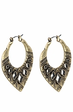 Lucky Brand Womens Tribal Etched Hoop Earrings