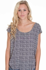 Lucky Brand Womens Westward Garden Row Top - Moroccan Night (Closeout)
