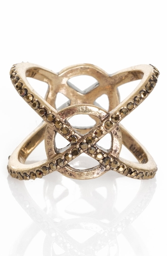 Lucky Womens Gold Tone XO Pave Ring (Closeout)