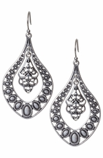 Lucky Womens Silver Oblong Filagree Earrings
