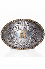 Nocona Mens Berry Oval Initial Buckle - Silver/Gold