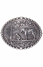 Nocona Mens Oval Praying Cowboy Buckle - Silver