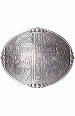 Nocona Mens Oval Oversized Cross Buckle - Silver