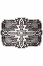 Nocona Mens Rectangle Aztec Buckle - Silver