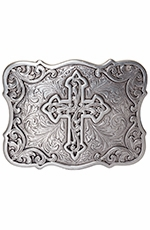 Nocona Womens Rectangle Filigree Cross Buckle - Silver