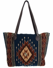Manos Zapotecas Women's Gloria Tote Bag 'Tribal Diamond' - Navy