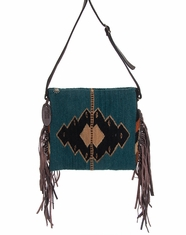 Manos Zapotecas Women's Palomita Fringe Bag 'Dusky Sky' - Dusty Blue (Closeout)