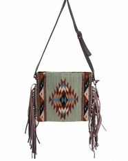 Manos Zapotecas Women's Palomita Fringe Bag 'Mints + Diamonds' - Mint
