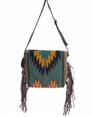 Manos Zapotecas Women's Palomita Fringe Bag 'Shadows + Diamonds' - Blue