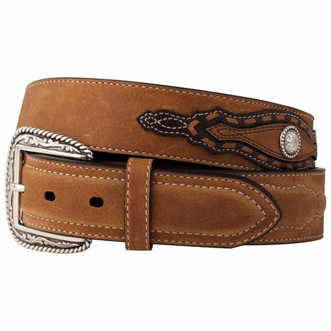 Ariat Men's Night Herder Western Belt with Overlays - Aged Bark/Chocolate (Closeout)