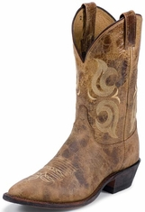 "Men's Justin Bent Rail 11"" Medium Round Toe Cowboy Boots - Puma Tan"