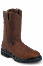"Men's Justin Original Workboots - 10"" Tan Pull On"