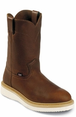 "Men's Justin Original Workboots - 10"" Tan Pull-On Wedge"